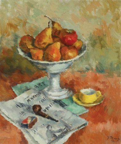 still life with fruits and pipe by dan ialomiteanu