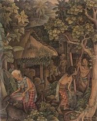 balinese village scene by i nyoman lesug