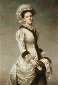 a portrait of a lady with a muff by rudolf w. a. lehmann