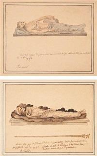 les restes de louis viii, de henri iv, de louis xv et de turenne, exhumés de leurs tombeaux de l'abbaye de saint-denis, octobre 1793 by alexandre lenoir