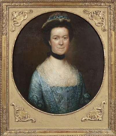 portrait of catherine warneford neé claverley of warneford place half length in and blue silk dress and a lace finchu by thomas gainsborough