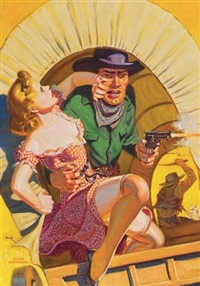frontierswoman grabbed by pistol-firing outaw in back of covered wagon (illus. for spicy western stories) by allen anderson