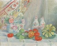 composition aux faïences anciennes et aux tomates by paule gobillard