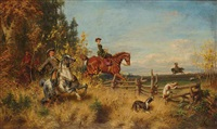 aristocrats on a hunt by friedrich wilhelm pfeiffer