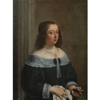 portrait of a lady holding a book and a kerchief by flemish school (17)