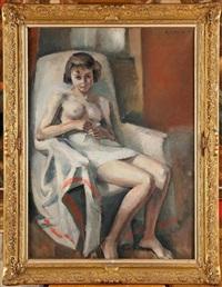 jeune fille nue assise dans un fauteuil by maurice asselin