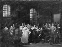 cinq-mars prend congé de sa mère pour se rendre au siège de perpignan by hippolyte lecomte
