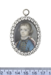 a young boy, wearing turquoise coat with gold lace, white chemise with frilled collar, black ribbon neck tie and mauve cloak draped over his shoulders, his blonde hair worn short by samuel cotes