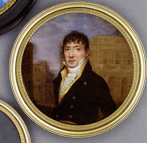 a gentleman standing in a street with buildings beyond in black coat with gold buttons yellow waistcoat and frilled cravat forward combed dark hair by henri lévêque