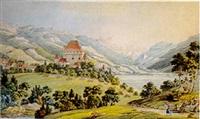 vuë du château de châtelare près de vevey canton de berne by niclaus gachet