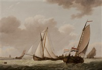 ships on the dutch coast by johannes hermanus koekkoek