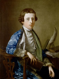 portrait of a boy (john wolffe) in a blue brocade fur-trimmed coat, seated at a table holding a book by giles hussey