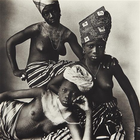 three dahomey girls one reclining by irving penn