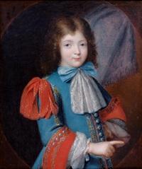 portrait d'un jeune enfant à la veste bleue, et revers rouge, et brandebourgs dans un ovale peint by louis ferdinand elle the elder