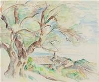 pejzaż z drzewem by abram adolphe milich