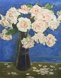 roses in blue vase by vasile varga