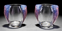 clematites clear and opalescent crystal vases (pair) by rené lalique