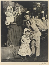 immigrants, ellis island (italians looking for lost luggage) by lewis wickes hine