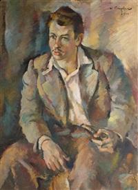 młody mężczyzna z fajką by wladyslaw filipiak
