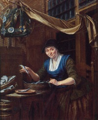 a woman cleaning fish at the entrance of a townhouse by gerrit zegelaar