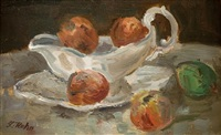 bowl of peaches by leo kahn