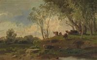 kuhherde und hirte in einer baumbestandenen landschaft by constant troyon