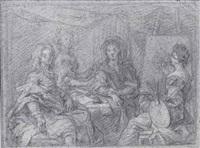 femme exécutant le portrait d'une famille by louis ferdinand elle the elder