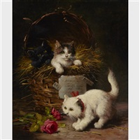 kittens at play by léon charles huber