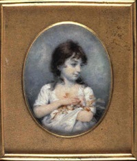 lady norton, as a young girl, clasping a bunch of flowers inher arms, with loose dark brown hair... by joseph saunders