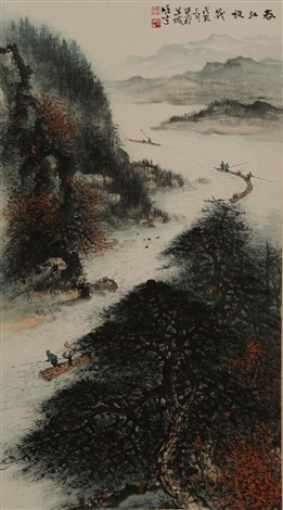 river scenery by li xiongcai