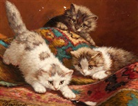 three playful kittens with a feather by cornelis raaphorst