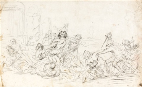 scène de massacre sketch verso by cornelis schut the elder