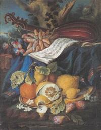 nature morte aux fruits et instruments de musique by cristoforo munari