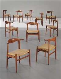 cowhorn dining chairs, model no. jh 505 (set of 10) by hans j. wegner