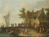 a harbour scene with dancing peasants by theobald michau