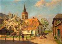 bloesembomen bij dorpsboerderij naast de oude kerk van ede by louis soonius