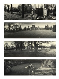 four photographs: (i) grave of franz kafka (ii, iii) zámecká obora (iv) from the series a walk in the magic garden by josef sudek