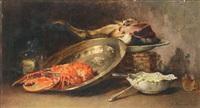 nature morte au cuivre et au homard by guillaume romain fouace