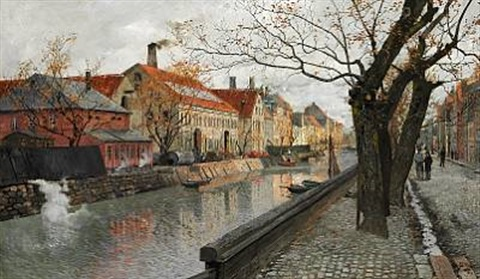 view of overgaden, christianshavn in copenhagen, on a clear autumn day by frits thaulow