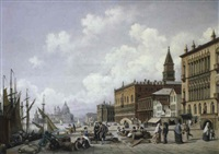veduta di venezia con personaggi by n. sattler