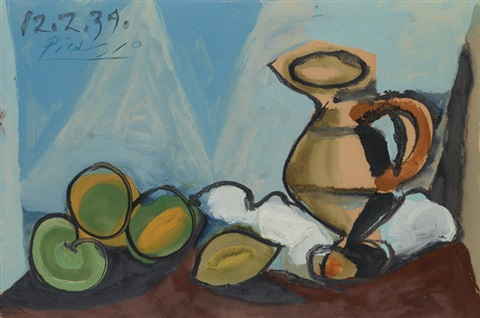 Nature morte au pichet et aux fruits by Pablo Picasso on artnet