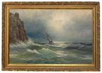 ship in stormy seas off the coast (after ivan konstantinovich aivazovsky) by max reinus