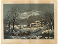 american winter scene: evening by currier & ives (publishers)