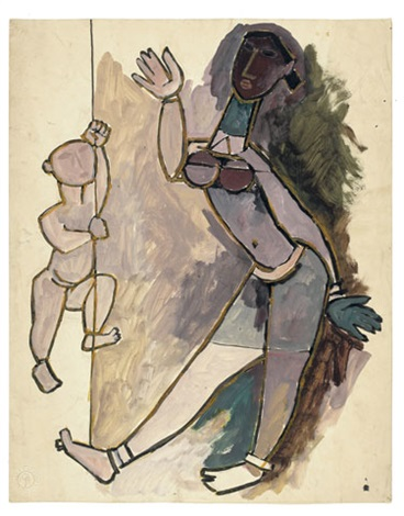 2bff6bf199145 Mother and Child by M.F. Husain on artnet