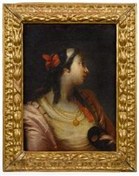 jeune vénitienne de trois-quarts, les cheveux noués d'un ruban rouge, tenant dans sa main gauche un masque noir by francesco zugno the younger