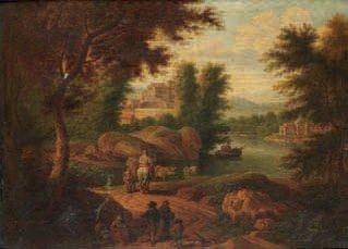 promeneurs et paysans sur un chemin le long dune rivière by adrian fransz boudewijns and pieter bout