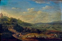 paysage avec un cavalier et un berger et son troupeau by flemish school (18)