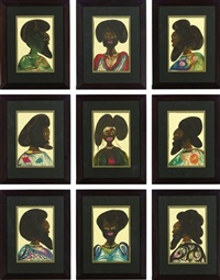 afro muses: harem 6 (9 works) by chris ofili