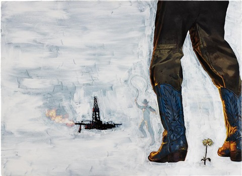 eden rock oil rig and cowboy by richard prince