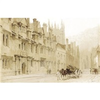 a street scene in oxford by thomas allom